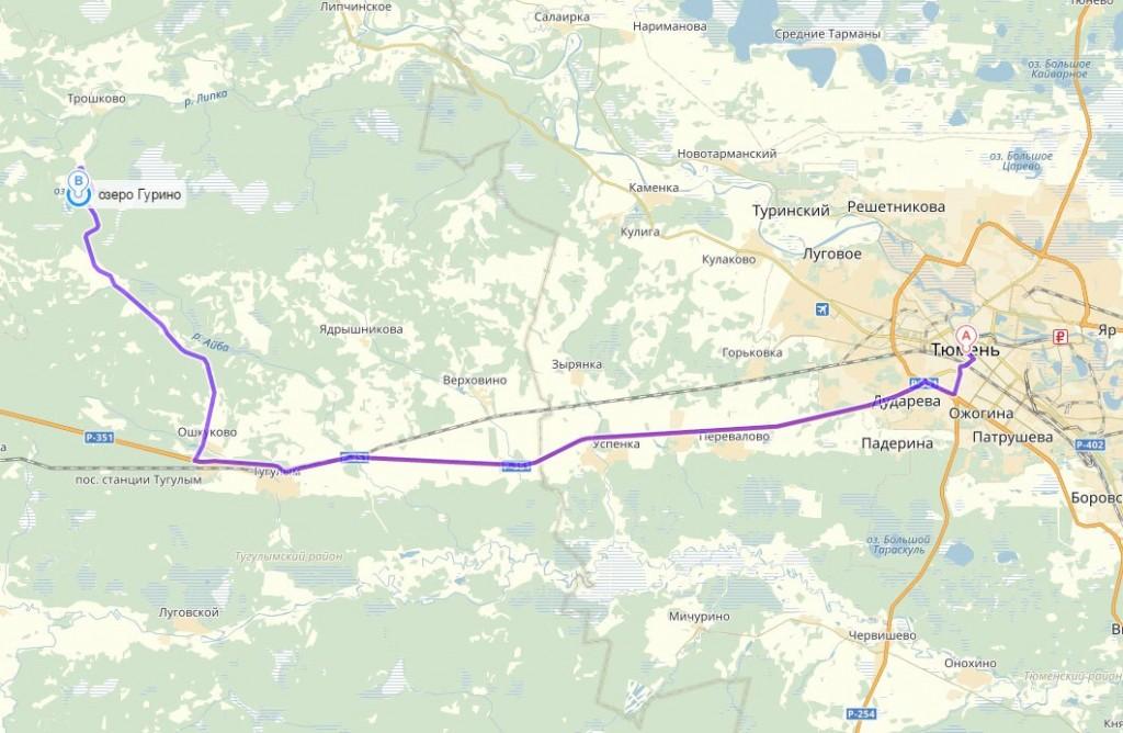 Карта проезда на озеро Гурино из Тюмени